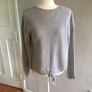Lucky Brand | Tie Front Gray Knit Sweater